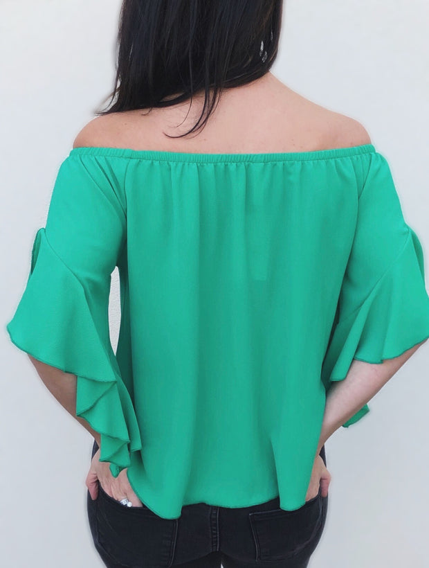 Emerald Off the Shoulder Tie-Front Top - Final Sale