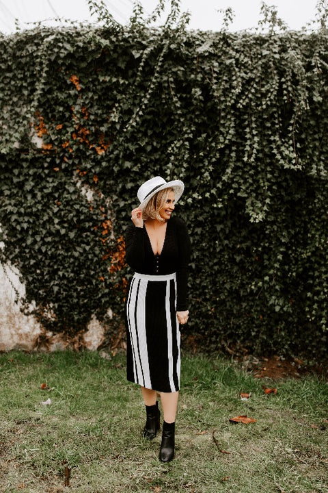 'SAMI' Colorblock Midi Skirt