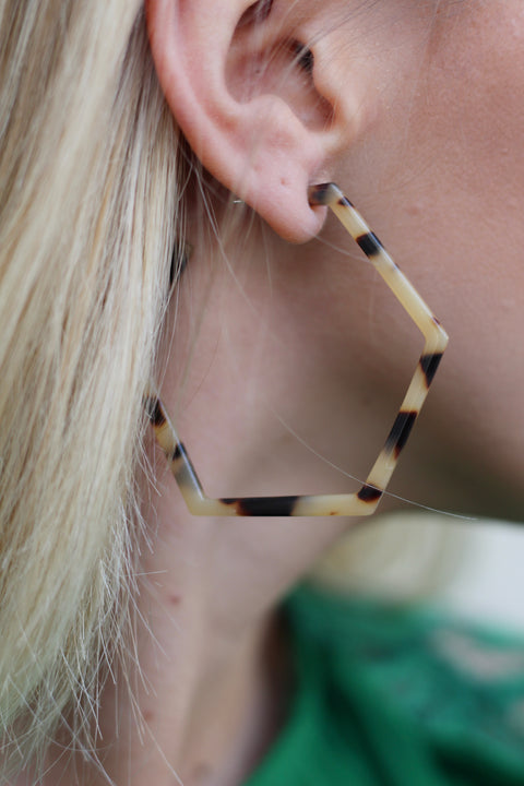Acrylic Tortoise Hexagon Hoops