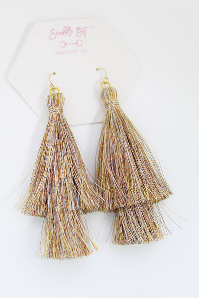 'ELIZA' Tassel Earrings - GOLD - Snaffle Bit Bracelet Co