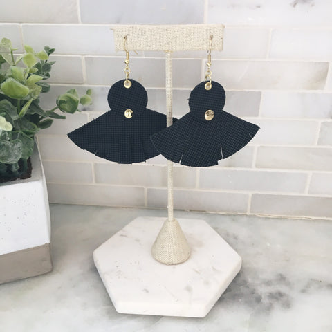 Leather Fan Earring- Black