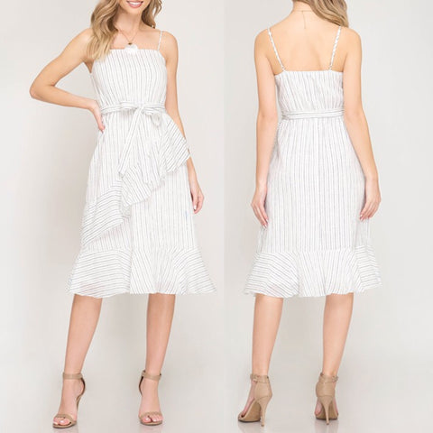 Sleeveless Stripe Ruffle Midi Dress - White