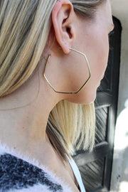 Thick Octagon Hoops - 14K Gold Dipped
