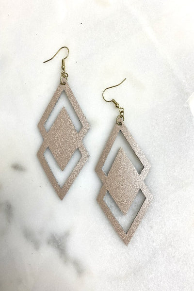 Blush Cut Out Leather Earring
