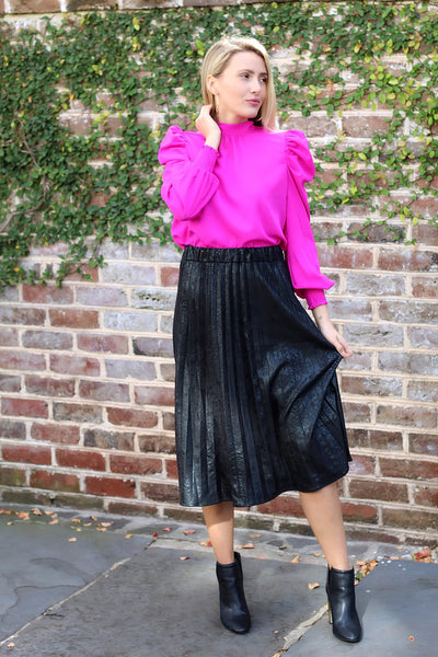 'SIMONE' Pleated Faux Suede Skirt-FINAL SALE