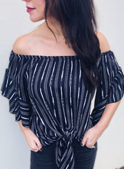 Navy Printed Off The Shoulder Top with Tie - Final Sale