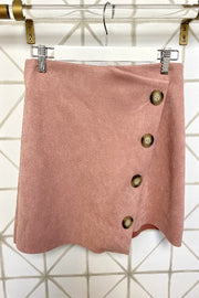 SAVANNAH Faux Suede Asymmetrical Skirt-ROSE