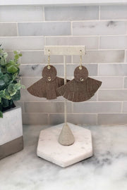 Leather Fan Earring- Tan Metallic