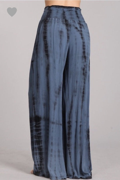 'CHAY' Smocked Pants-NAVY TIE DYE