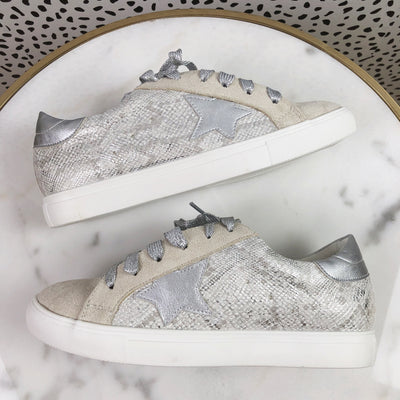 Metallic GG Star Sneakers - SILVER SNAKE - FINAL SALE