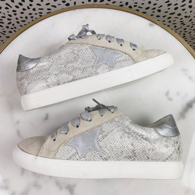 Metallic GG Star Sneakers - SILVER SNAKE