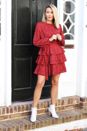'MALLORY' Tiered Dress - BRICK - FINAL SALE