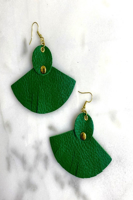 Leather Fan Earring- GREEN