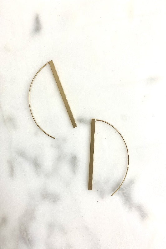Gold Bar Wishbone Earring