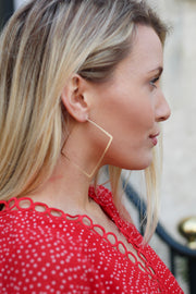 Matte Gold Dainty Square Hoops