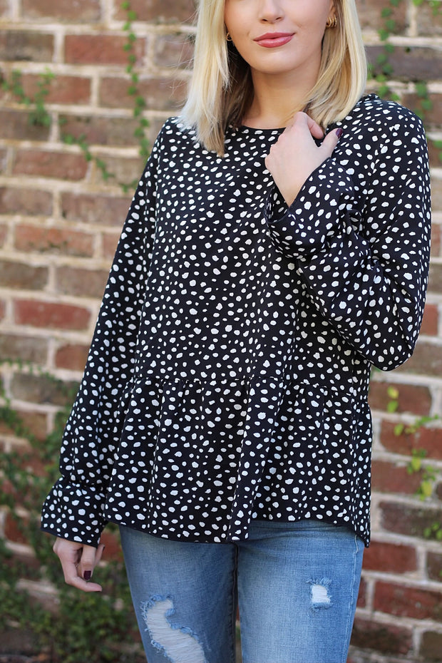 'SHIRLEY' Black Spotted Top-FINAL SALE