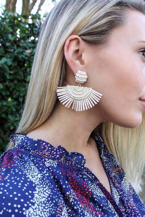 Bead and Leather Fan Earrings - IVORY