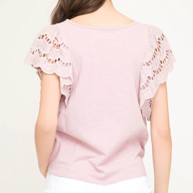 Eyelet Ruffled Sleeve Knit Top - Pink