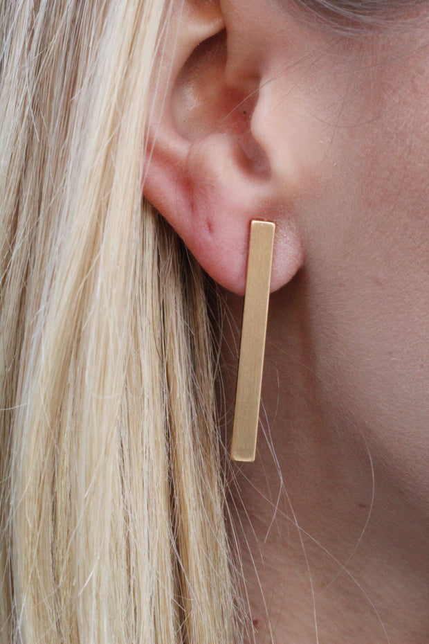 Matte Gold Bar Stud Earrings