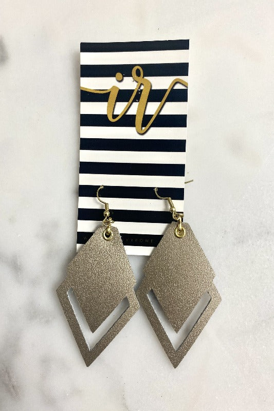 Gold Leather Cut Out Earring