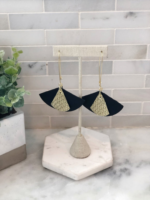 Leather Black and Gold Layered Fan Earrings