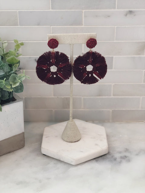 Bead & Tassel Drop Circle Earrings - Burgundy
