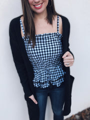 Black Gingham Peplum Tank - Final Sale