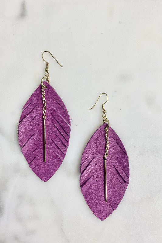 Leather & Gold Fringe Leaf Earring-JEWEL