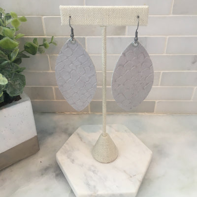 Gray Pebbled Leather Earrings