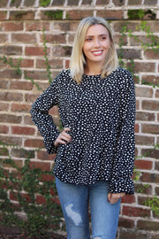 'SHIRLEY' Black Spotted Top