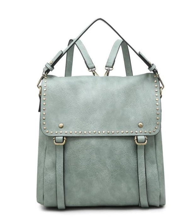 INDIGO Studded Convertible Backpack- LIGHT TEAL