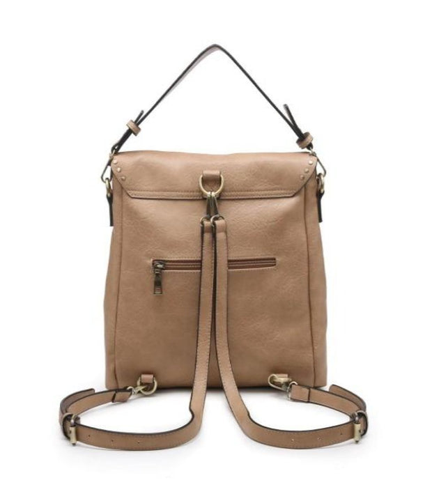 INDIGO Studded Convertible Backpack- SAND