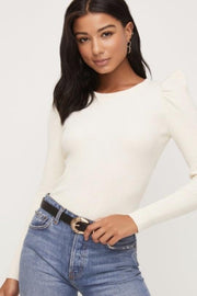 ISLA Puff Sleeve Ribbed Sweater