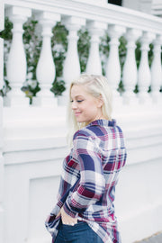 Navy and Burgundy Plaid Top - Final Sale