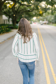 Long Sleeve Striped Top-Green - Final Sale