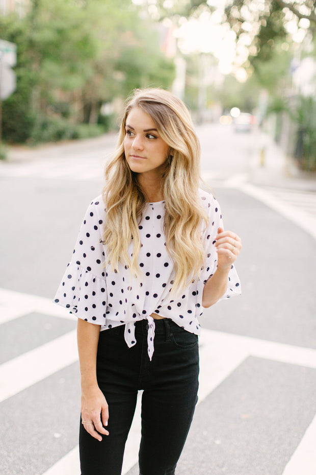 Polka Dot Tie Front Top - Final Sale
