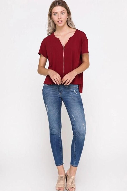 JESSICA Front Zip Top-WINE