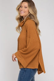 KATE Cuff Sleeve Thermal Knit Top-LIGHT TAUPE