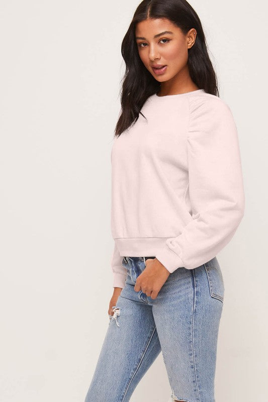 LAUREN Tie Dye Embellished Sleeve Sweatshirt-PINK BLUSH