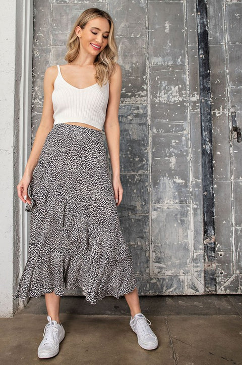 LEX Printed Tiered Midi Skirt- NAVY