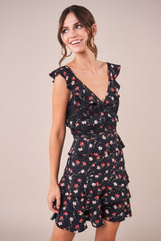 LIRA Floral Print Ruffle Dress-BLACK