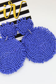'MADDIE' Circle Beaded Earrings - ROYAL