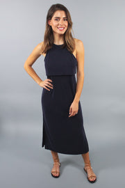 'MILLS' Navy Cut-Out Midi Dress