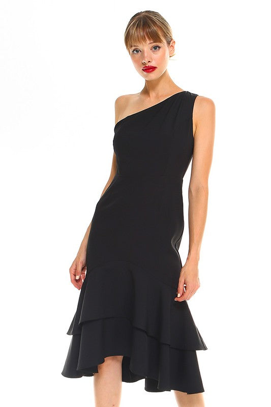 PAIGE One Shoulder Cocktail Dress-BLACK