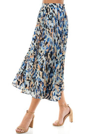 PAIGE Animal Print Pleated Skirt