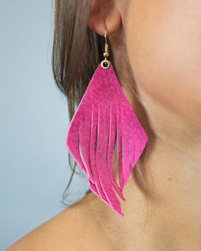 'METTS' Leather Fringe Earrings - Fuchsia