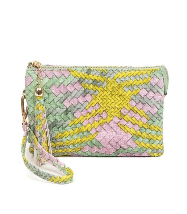 RILEY Crossbody/ Wristlet- TEAL/YELLOW