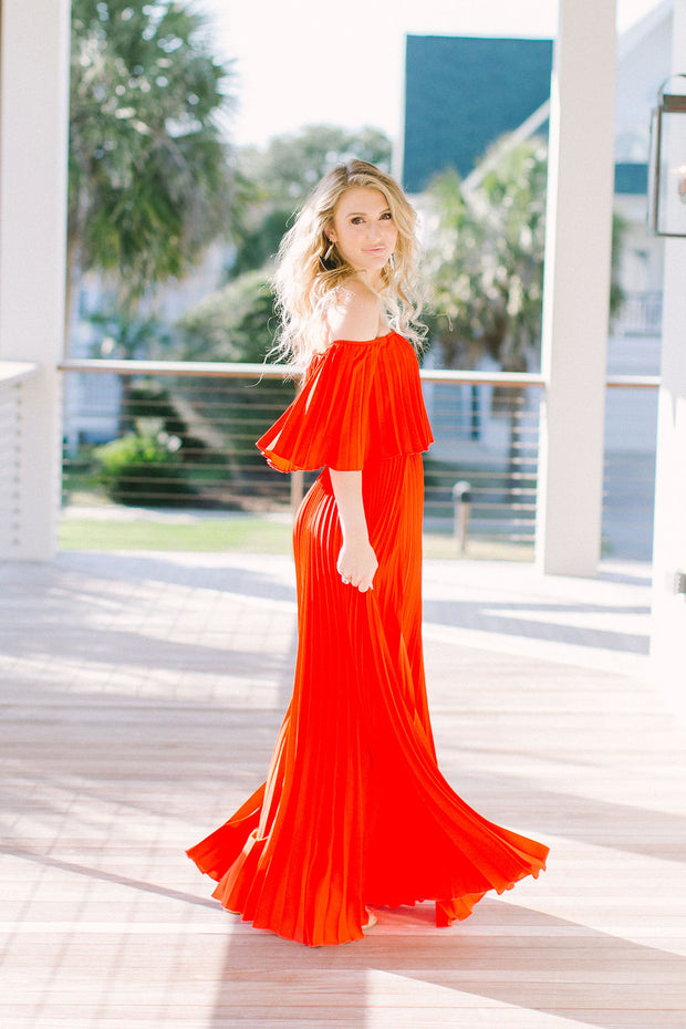 'ROXY' Pleated Maxi Dress - TOMATO