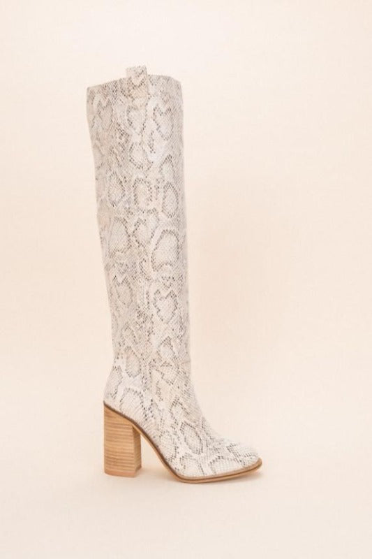 'SAINT' Snake Block Heel Boot