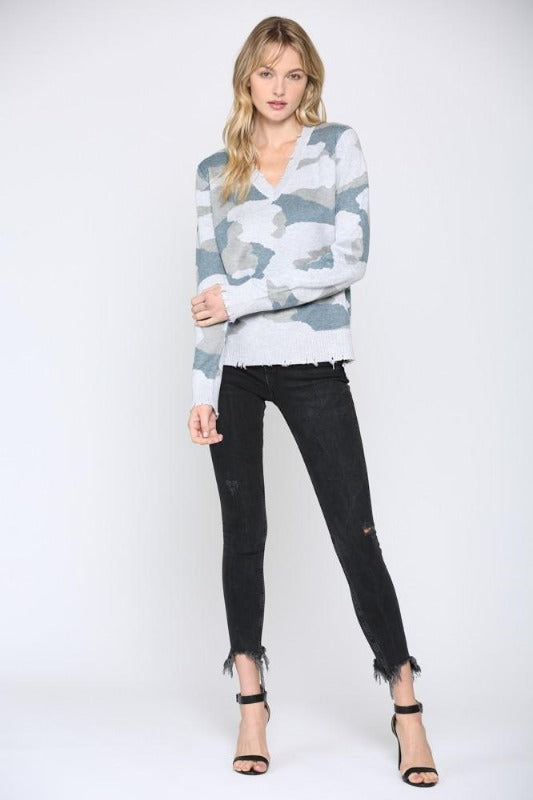 'SANDERS' Distressed Camo Sweater